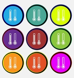 Thermometer temperature icon sign Nine multi vector