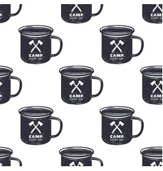 Vintage hand drawn camp mug pattern design vector