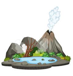 Volcano nature island scene vector