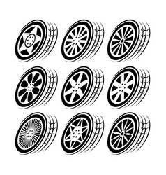 Wheel tire track movement set vector