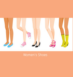 Women legs with different skin and shoes vector