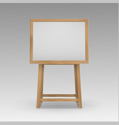 wooden brown sienna art board easel with vector image