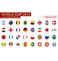 World cup 2018 all qualified teams flags vector