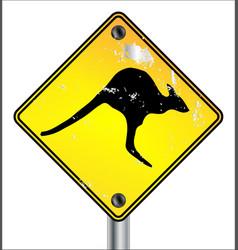 yellow kangaroo sign vector image