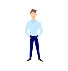 young man blue shirt stands straight hands in vector image