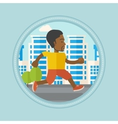 Young man running in the city vector