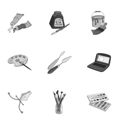 Artist and drawing set icons in monochrome style vector image