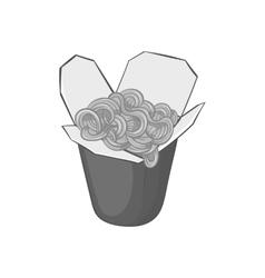 Box of noodles icon black monochrome style vector image