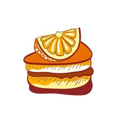 doodle orange cake slice vector image vector image