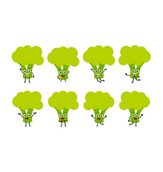 set of funny brocoli vegetable cartoon character vector image