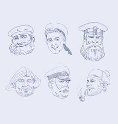 set of portraits different sailors the sailor vector image