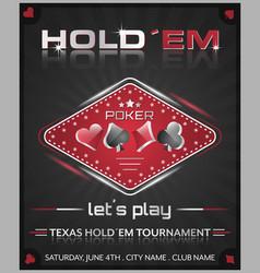 Texas holdem poker tournament poster vector