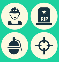 Battle icons set collection of bombshell rip vector