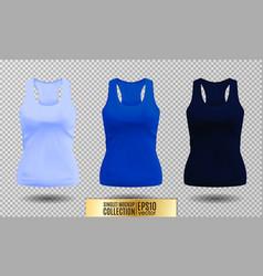blank sport tank top for women template set vector image vector image