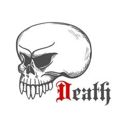 Cracked monster skull stylized sketch vector image vector image