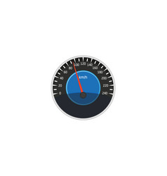 Flat car speedometer isolated icon vector