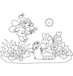 flying fairy and caterpillar vector image
