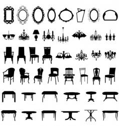 furniture silhouette set vector image
