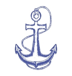 Ship Anchor and Rope Hand Draw Sketch vector image vector image