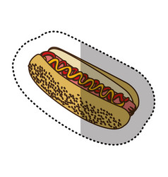 color contour hot dog fast food icon vector image vector image