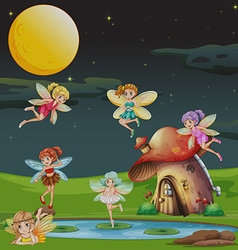 Fairies flying over the house at night vector image vector image