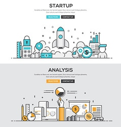 Flat design line concept Start up Analysis vector image