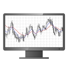 Forex stock chart on monitor vector image