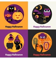 Happy halloween greeting cards in flat design vector