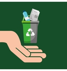 recycling bin garbage selection icon vector image
