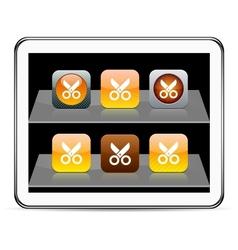 Scissors orange app icons vector image