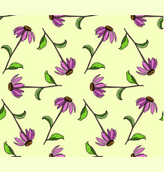 seamless pattern of color flowers color hand vector image
