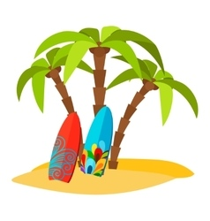 Surfing pacific beach flat print vector