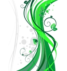 Wave floral abstract vector image vector image