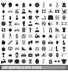 100 bodybuilder icons set simple style vector