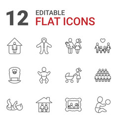 12 family icons vector