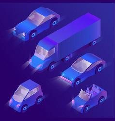 3d isometric violet cars with headlights vector