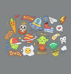 a set of cartoon stickers comic doodles cartoon vector image