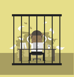 African businessman working in the prison vector
