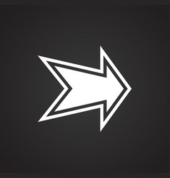 arrow with outline on black background vector image
