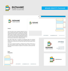 beer glass business letterhead envelope and vector image
