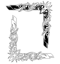 black and white graphic tattoo frames set vector image vector image
