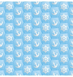 blue pattern seamless with nautical symbols vector image