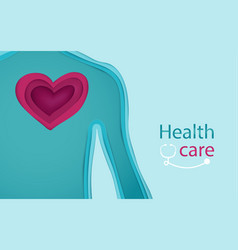 body and heart form 3d paper art style vector image