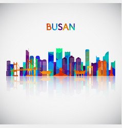 busan skyline silhouette in colorful geometric vector image