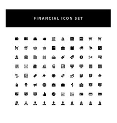 Business financial icons set with glyph style vector