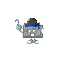 Calm one hand pirate wacom mascot wearing hat vector