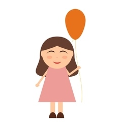 Cheerful little girl with balloons vector image