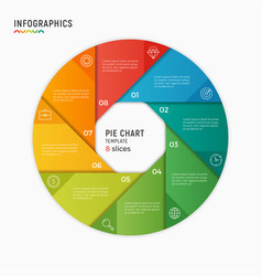 Circle chart infographic template 8 vector