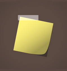 close up of yellow note paper reminder vector image