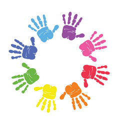 Colorful hand prints made by children vector